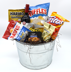 Wine Snack Pail from Schultz Florists, flower delivery in Chicago