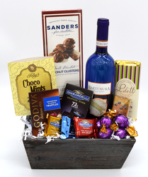 Wine and Chocolate Wood Box from Schultz Florists, flower delivery in Chicago