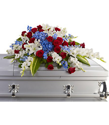 Distinguished Service Casket Spray from Schultz Florists, flower delivery in Chicago