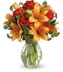 Fiery Lily and Rose from Schultz Florists, flower delivery in Chicago